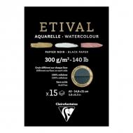 """Альбом для акварели Clairefontaine """"Etival"""", А5, 300г/м2, торшон, холод.пресс., склейка, 15 л, черная бумага"""