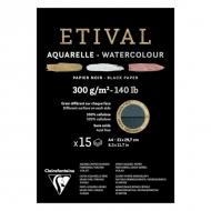 """Альбом для акварели Clairefontaine """"Etival"""", А4, 300г/м2, торшон, холод.пресс., склейка, 15 л, черная бумага"""