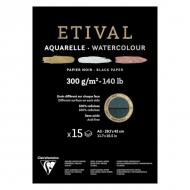 """Альбом для акварели Clairefontaine """"Etival"""", А3, 300г/м2, торшон, холод.пресс., склейка, 15 л, черная бумага"""