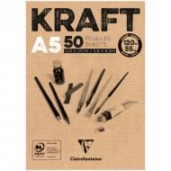 """Блокнот для эскизов Clairefontaine """"Kraft"""", А5, 120 г/м2, склейка, 50 л., верже"""