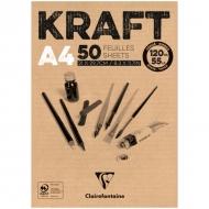 """Блокнот для эскизов Clairefontaine """"Kraft"""", А4, 120 г/м2, склейка, 50 л., верже"""