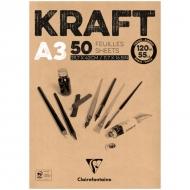 """Блокнот для эскизов Clairefontaine """"Kraft"""", А3, 120 г/м2, склейка, 50 л., верже"""