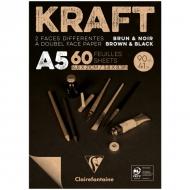 """Блокнот для эскизов Clairefontaine """"Kraft"""", А5, 90 г/м2, склейка, 60 л., верже, черный/крафт"""