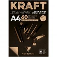 """Блокнот для эскизов Clairefontaine """"Kraft"""", А4, 90 г/м2, склейка, 60 л., верже, черный/крафт"""