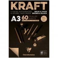 """Блокнот для эскизов Clairefontaine """"Kraft"""", А3, 90 г/м2, склейка, 60 л., верже, черный/крафт"""