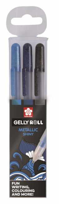 Набор гелевых ручек Sakura Gelly Roll Metallic Океан 3шт: синяя, сине-черная, черн.