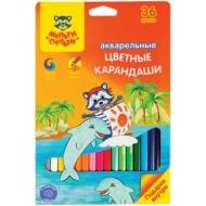 """Карандаши акварельные Мульти-Пульти """"Енот в Карибском море"""", 36 цветов, заточенные, картонная коробка"""