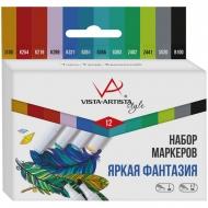 """Набор маркеров для творчества Vista-Artista """"Style"""" 12цв., пулевидный/скошенный, 0.7мм/1-7мм, Яркая фантазия"""