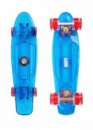 """Скейт Cruiser Board """"Street Hit"""" Crystal Голубой со светящимися красными колесами"""