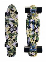 """Скейт Cruiser Board """"Street Hit"""" Graphics Камуфляж с черными колесами"""