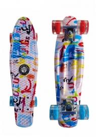 """Скейт Cruiser Board """"Street Hit"""" Graphics Граффити со светящимися синими и красными колесами"""