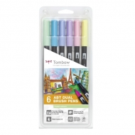 Набор маркеров Tombow ABT set pastel colors 6 шт., пастельные тона
