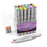 Набор художественных маркеров для скетчинга  Artisticks Style 100, 24 цвета, 2-сторонние, 1-6 мм