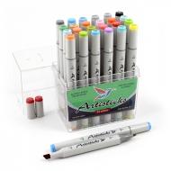 Набор спиртовых маркеров для рисования Artisticks Basic 101, 24 цвета, 2-сторонние, 1-6 мм