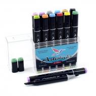 Набор спиртовых маркеров для рисования Artisticks Brush 102, 12 цветов, 2-сторонние, 1-6 мм