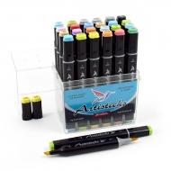 Набор спиртовых маркеров для рисования Artisticks Brush 102, 24 цвета, 2-сторонние, 1-6 мм