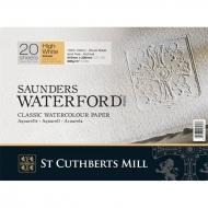 """Блок акварельной бумаги """"Saunders Waterford Rough WHITE"""" CUTHBERTS, 300 г/м2, 31х41 см, 20 л, экстрабелая"""