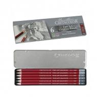 Набор чернографитных карандашей Cretacolor Cleos, 6шт, 2H,HB,2B,4B,6B,8B