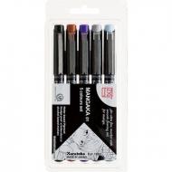 Набор из 5 цветных ручек-линеров ZIG Millennium  для рисования (0.1 мм)