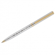 "Ручка шариковая Delucci ""Tempo"", синяя, 1,0мм, корпус серебро/золото, поворот., подар.уп."