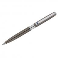 """Ручка шариковая Delucci """"Taglia"""" синяя, 1,0мм, корпус оружейный металл/серебро, с кристалл, подар.уп"""