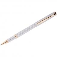 "Ручка-роллер Delucci ""Celeste"", синяя, 0,6мм, цвет корпуса - серебро/золото, поворот., подар.уп."