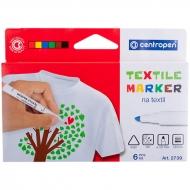 """Набор маркеров для ткани Centropen """"2739"""", 6 цветов"""