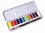 Набор акварельных красок Derwent Academy 12 кювет, кисть, металлический пенал