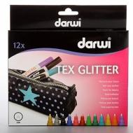 Набор маркеров по текстилю Darwi Tex Glitter, 12 цветов по 6 мл
