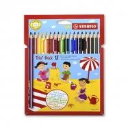 Цветные карандаши трехгранные Trio STABILO для рисования, набор 18 цветов