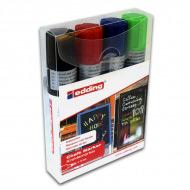 Набор меловых маркеров EDDING 4090 для стекла и зеркал, 4-15 мм, 4 цвета