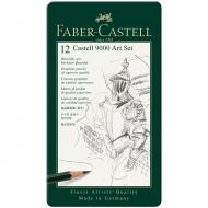 Чернографитные карандаши Faber-Castell 9000 12 шт. набор, твердость 8B - 2H