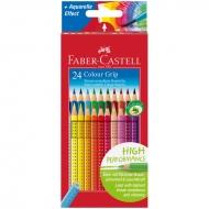 Цветные акварельные карандаши Faber-Castell Colour Grip 2001 трехгранные, 24 цвета