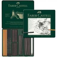 """Набор угля и угольных карандашей Faber-Castell """"Pitt Charcoal"""" 24 предмета, метал. коробка"""