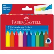 Мелки восковые Faber-Castell, 12 цветов, трехгранные, картонная упаковка
