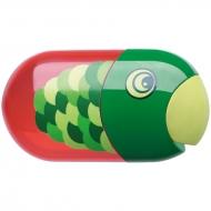 """Точилка пластиковая с ластиком Faber-Castell """"Fish"""", 2 отверстия, контейнер"""