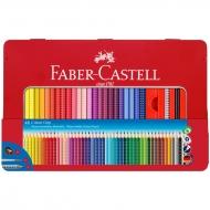 """Акварельные карандаши трехгранные Faber-Castell """"Grip"""" 48 цветов + чернографитный карандаш, кисть, точилка, металлический пенал"""
