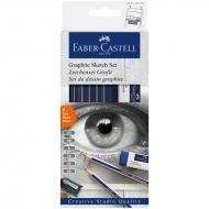 Чернографитные карандаши Faber-Castell Goldfaber  6 шт. набор с ластиком, точилкой