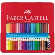 Цветные акварельные карандаши Faber-Castell Colour Grip 2001 трехгранные, 24 цвета, металлический пенал