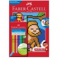 "Карандаши цветные Faber-Castell ""Grip"", 12цв.+раскраска, трехгран., заточен., картон. упак."