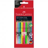 """Карандаши цветные Faber-Castell """"Grip"""", 12цв., неон/пастель/металлик"""