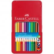 Цветные акварельные карандаши Faber-Castell Colour Grip 2001 трехгранные, 12 цветов