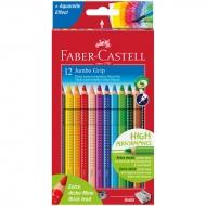 Акварельные карандаши Faber-Castell Jumbo Grip с точилкой, трехгранные, 12 цветов