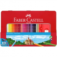 "Набор цветных карандашей Faber-Castell ""Замок"" 48 цветов+2 черногр. карандаша+точилка+ластик, металлический пенал"