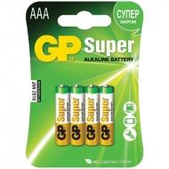 Батарейка GP Super AAA (LR03) 24A алкалиновая, BC4 (4шт. упаковка)