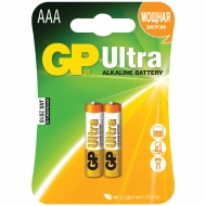 Батарейка GP Ultra AAA (LR03) 24AU алкалиновая, BC2 (2шт. упаковка)