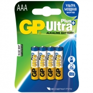 Батарейки GP Ultra Plus AAA (LR03) 24AUP алкалиновая BC4 (4шт. упаковка)