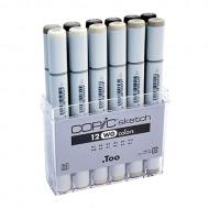 Набор маркеров для скетчей Copic Sketch WG (Warm Gray) в контейнере 12 цветов