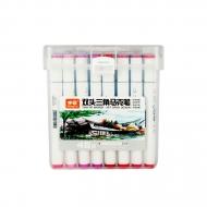 Набор двусторонних маркеров для скетчинга и творчества, пластиковый бокс с ручкой, 48 цветов