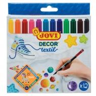 """Набор фломастеров для ткани Jovi """"Decor textil"""", 12 цветов"""